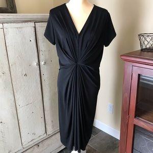 NWT Leota Black knit dress front gather v neck XL